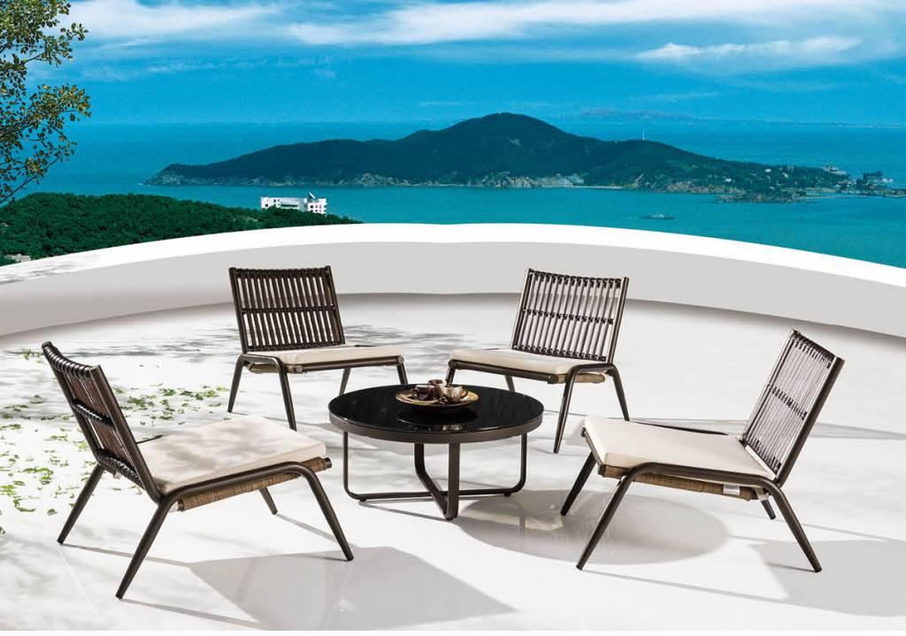 Kitaibela Modern Outdoor Low Seating Set For 4