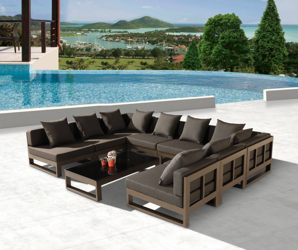 Amber modern outdoor u shape large sectional sofa for 8 for Sofa rinconera exterior