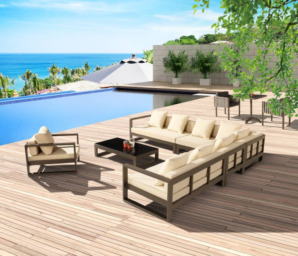 Amber Modern Outdoor Sectional Sofa Set For 8 With Club Chair