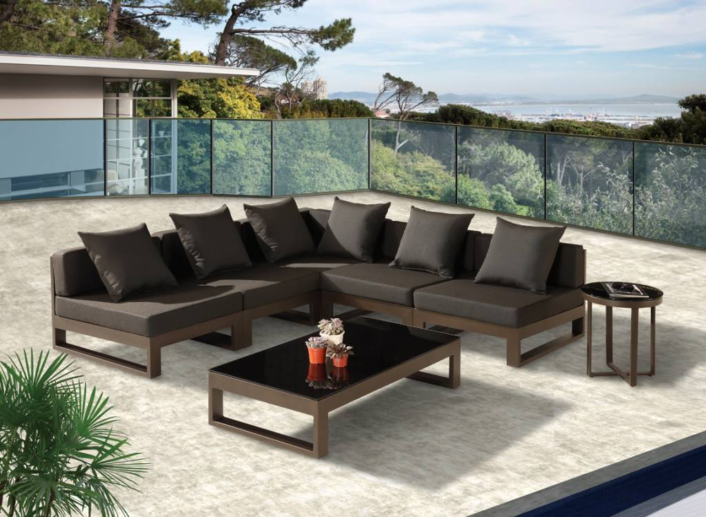 Amber Modern Outdoor V Shape Sectional Sofa Set For 5