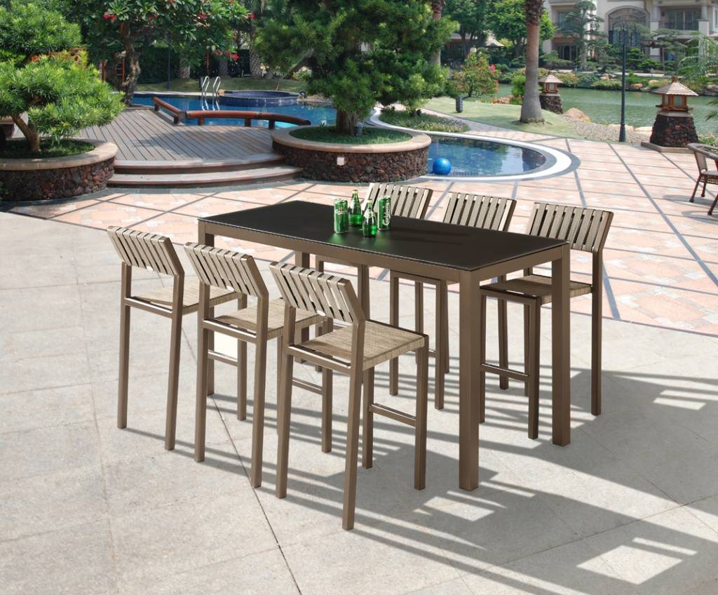 Amber Modern Outdoor Bar Set For 6 With Armless Bar Stools