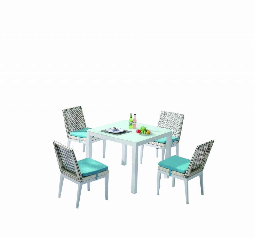Provence Square Dining Set For 4 With Armless Chairs