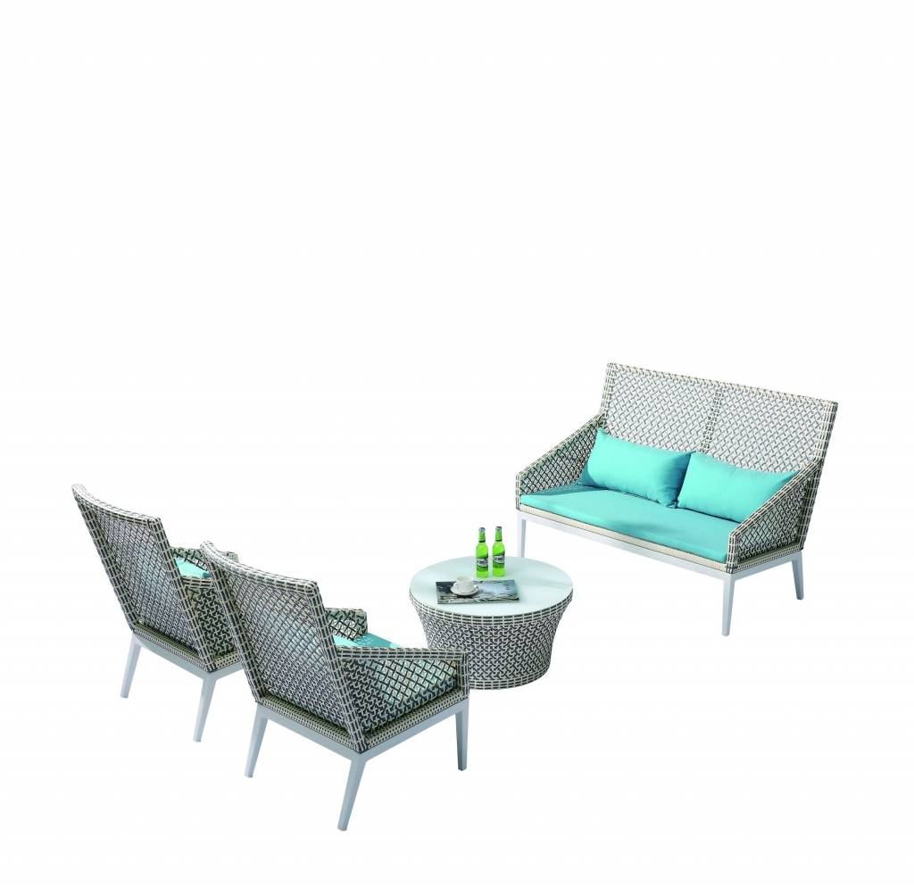Provence Modern Outdoor Tall Loveseat Sofa Set For 4 With