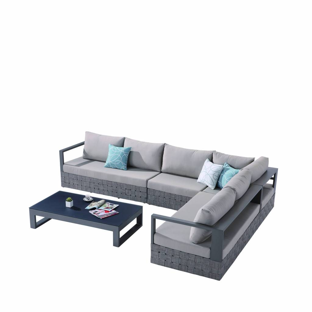 Modern Coffee Table For Sectional: Edge Modern Outdoor Sectional Sofa Set For 6 With Coffee Table