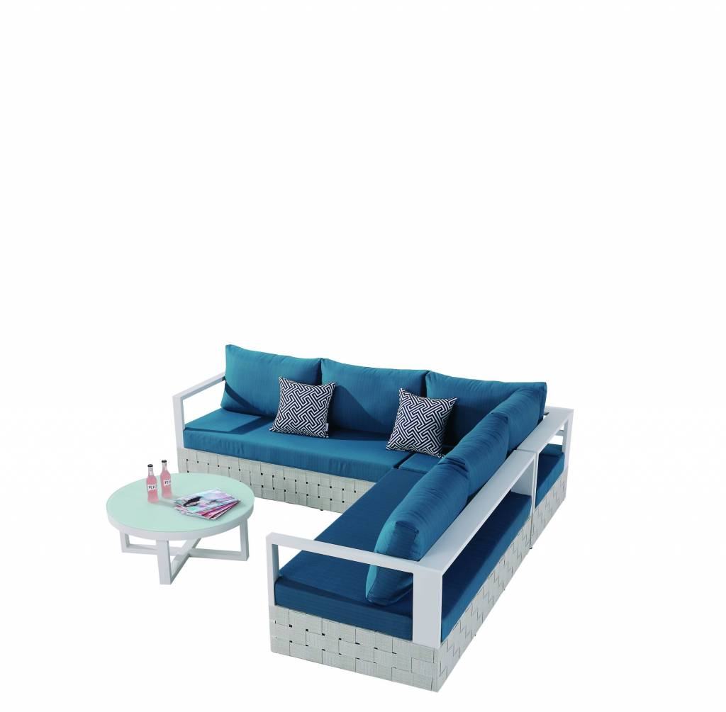 Edge Modern Outdoor Sectional Sofa Set For 5 With Round Coffee Table