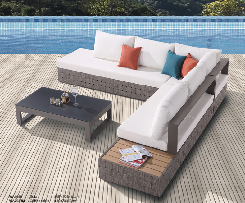 Edge Modern Outdoor Sectional Sofa Set For 5 With Built In