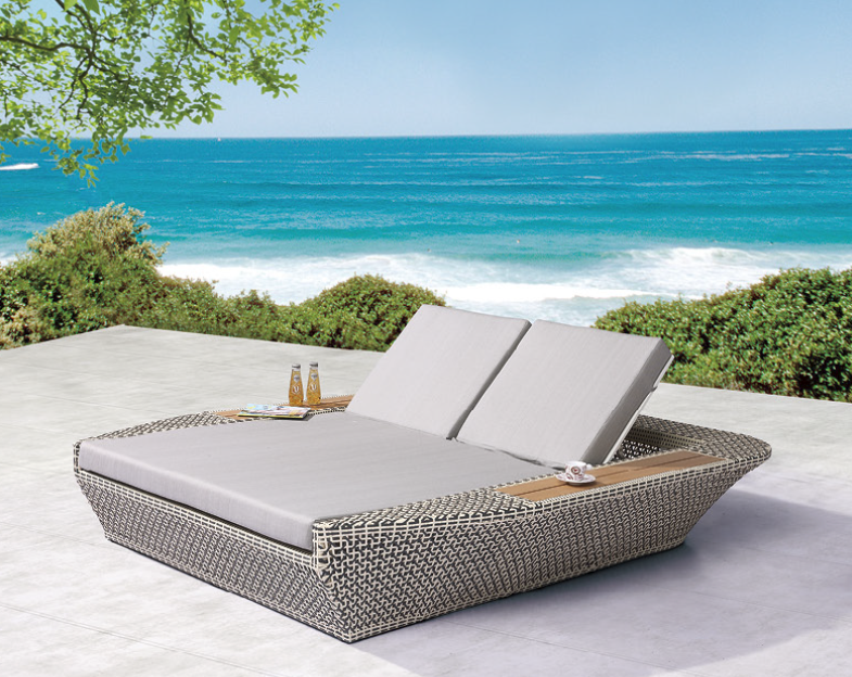 Charmant Evian Modern Outdoor Double Chaise Lounge