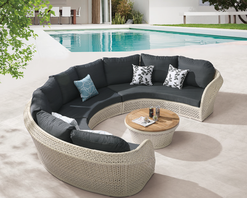 Evian Modern Outdoor Curved 6 Seater Sofa Set With Coffee