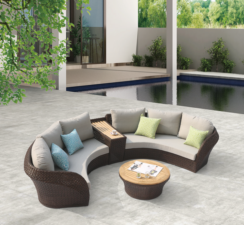 Sofa Table With Seating: Evian Modern Outdoor Curved 4 Seater Sofa Set With Built