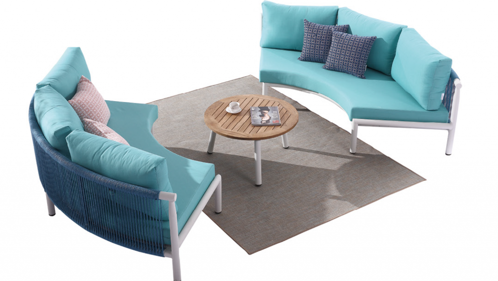 Venice Curved Sofa Set For 4 With Coffee Table