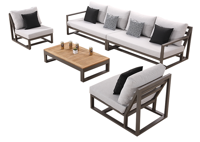 Tribeca Modern Outdoor Sectional Sofa Set For 6 With 2