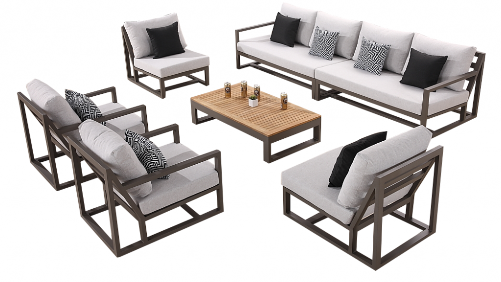 Tribeca Sectional Sofa Set For 8 With 2 Club Chairs And 2 Armless Middles