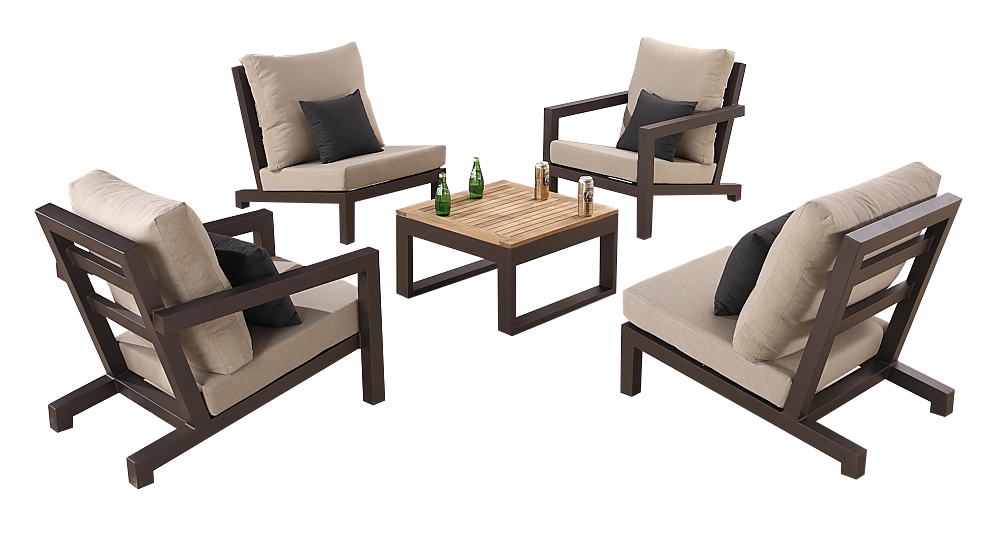 Soho Club Chair Set For 4 With Square Coffee Table
