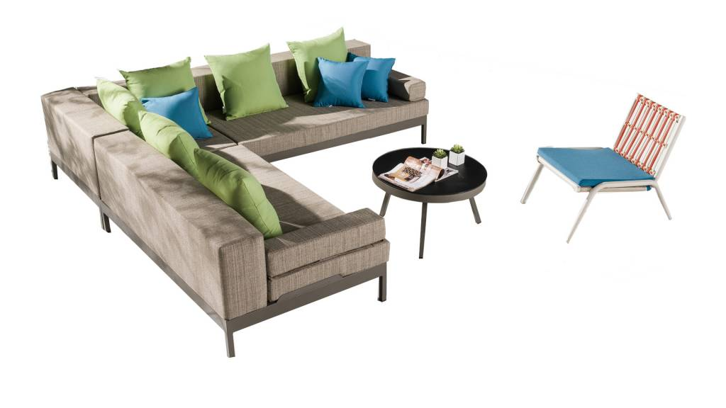 Barite Modern Outdoor Sofa Set for 5 with large chaise side
