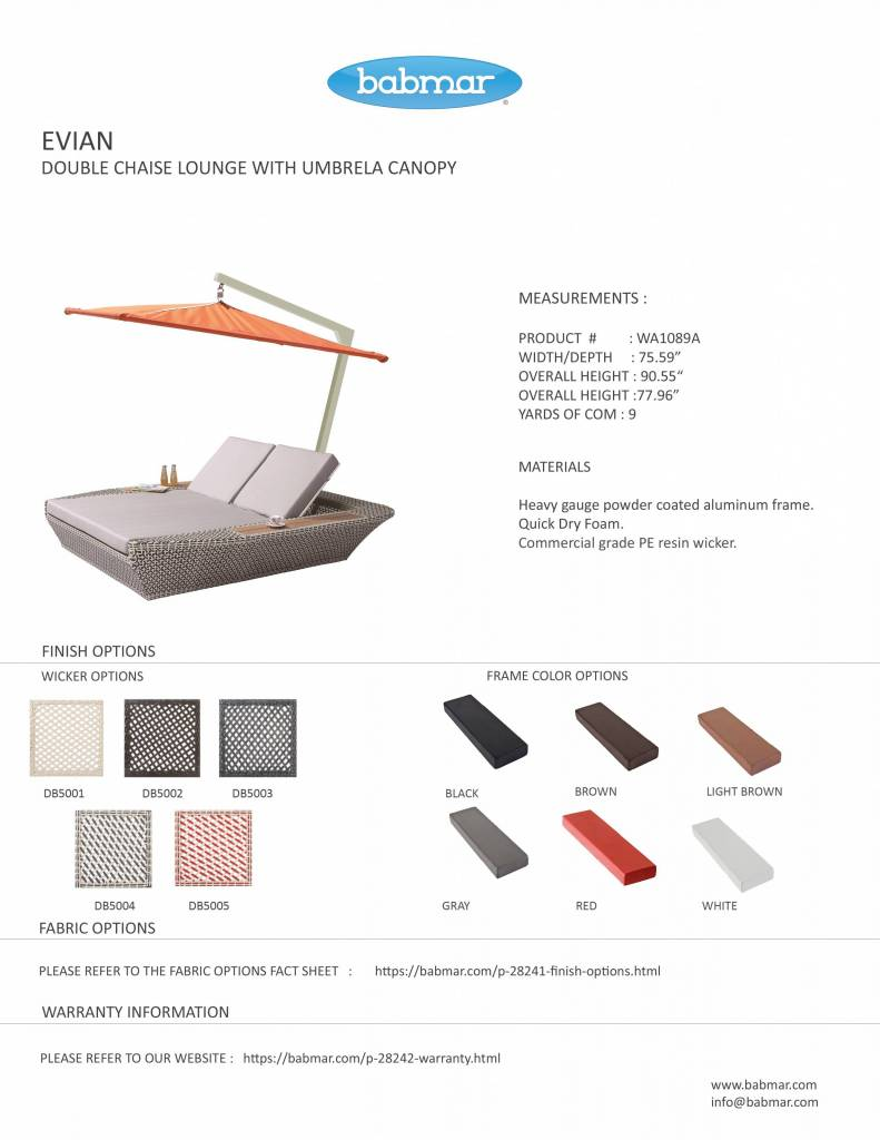 Picture of: Evian Double Chaise Lounge With Umbrella Canopy