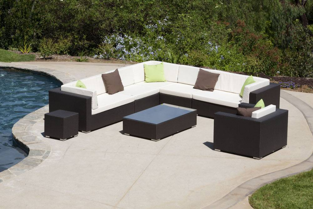swing 46 modern outdoor all weather wicker 8 piece sectional seating sofa set with club chair for 7. Black Bedroom Furniture Sets. Home Design Ideas