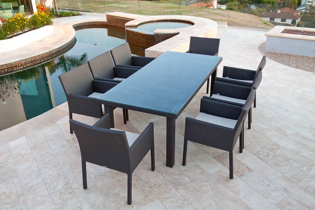 Bella Dining Set For Eight Outdoor Wicker All Weather Wicker
