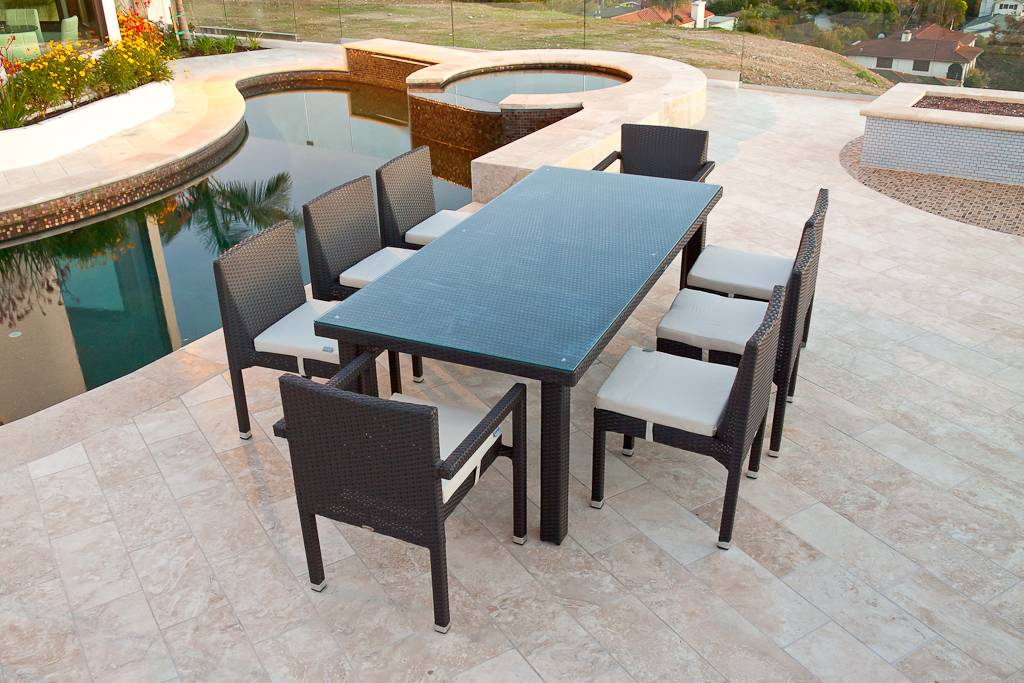 Vita Armless Dining Set For Six Outdoor Wicker Dining