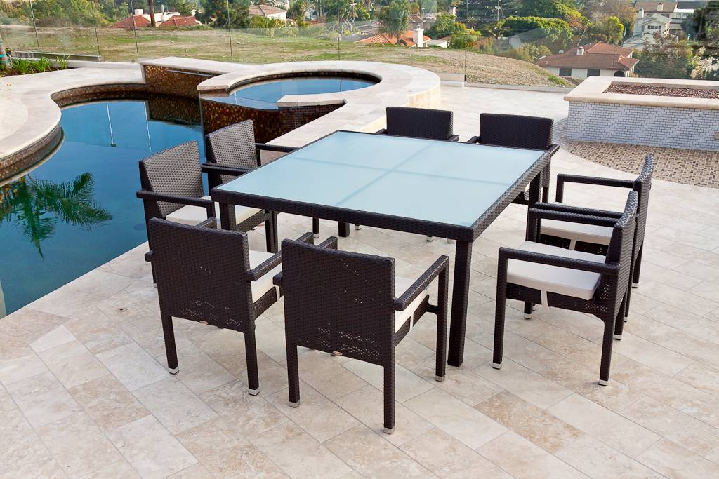 Free shipping of vita dining set for eight with square for Best deals on patio furniture sets