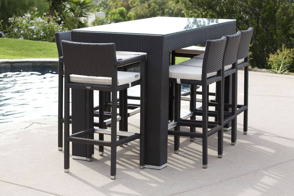Pandora Modern Outdoor Bar Set For 8 With Vertigo
