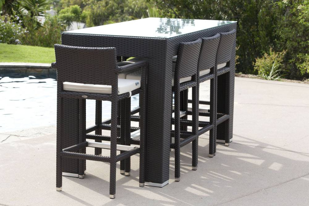 Pandora Modern Outdoor Bar Set For 8 With Vertigo Bar