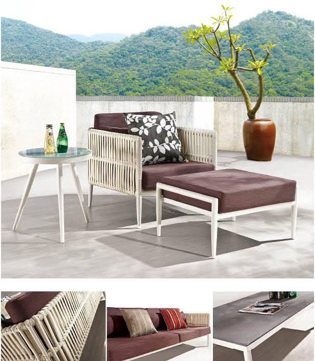 Kitaibela Modern Outdoor Club Chair With Ottoman