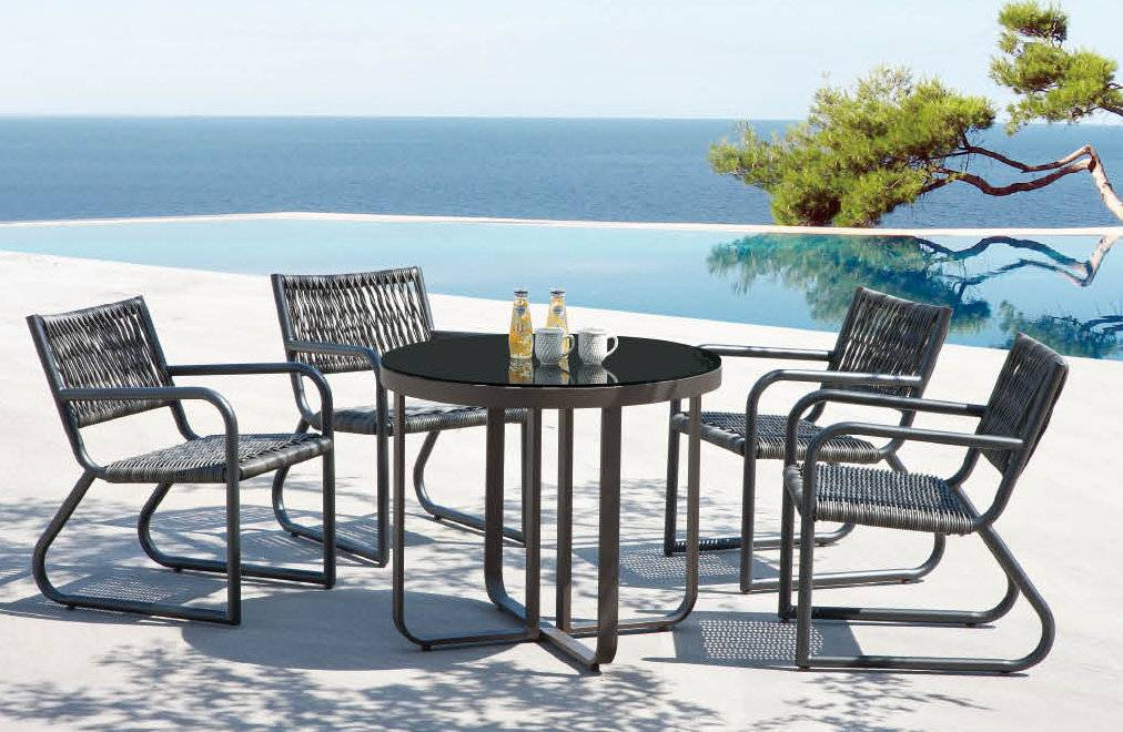 Haiti Modern Outdoor Arm Chair Dining Set For 4 Outdoor