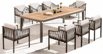 Hyacinth Dining Set for 8 with Sidestraps