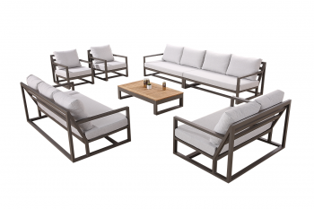 Tribeca 11 Seater Sectional Sofa Set with 3 Seater Sofa, Loveseat Sofa, and 2 Club Chairs