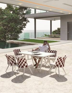 Verona Dining Set for 6 with Armless Chairs