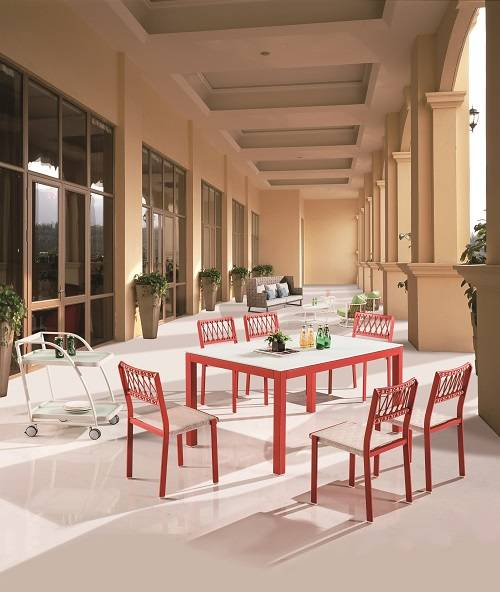 Hyacinth Dining Set for 6 with Chairs without Arms