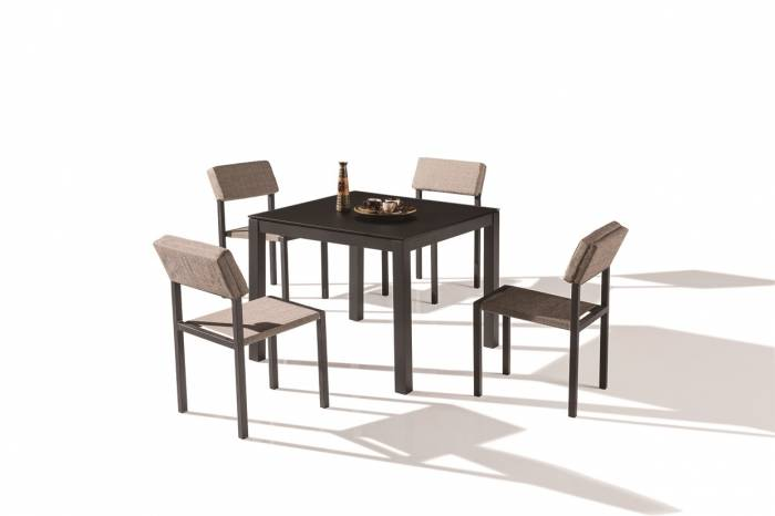 Barite Dining Set For 4 With Armless Chairs