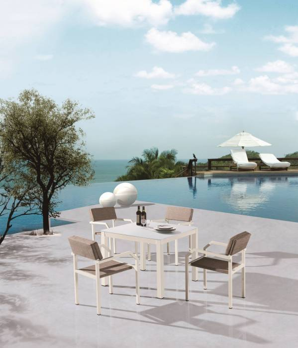 Barite Dining Set for 4 with Arms