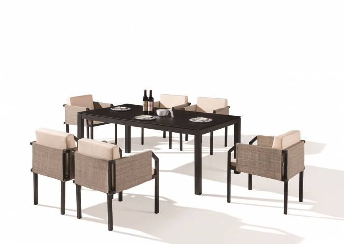 Barite Dining Set For 6 With (Chairs with Side Fabric) - Image 1