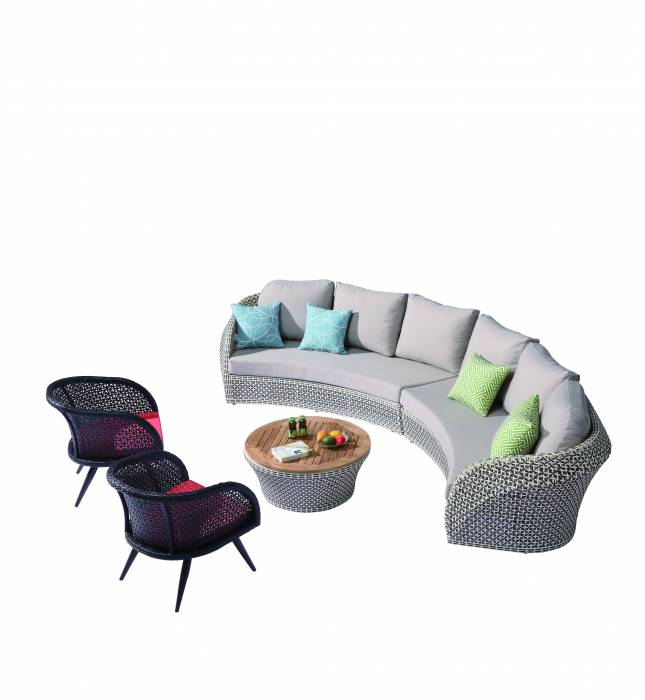 Evian Curved 6 Seater Sofa Set with 2 Chairs