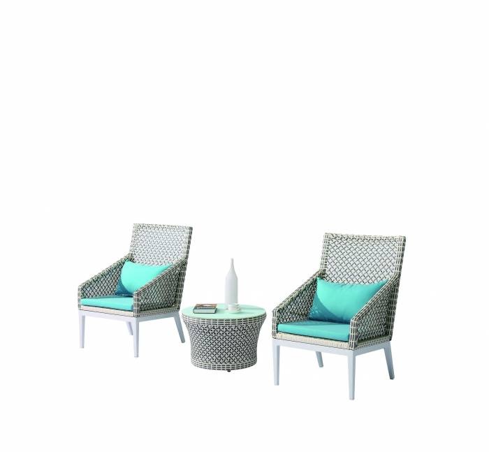 Provence Set of 2 Tall Highback Chairs with Coffee Table