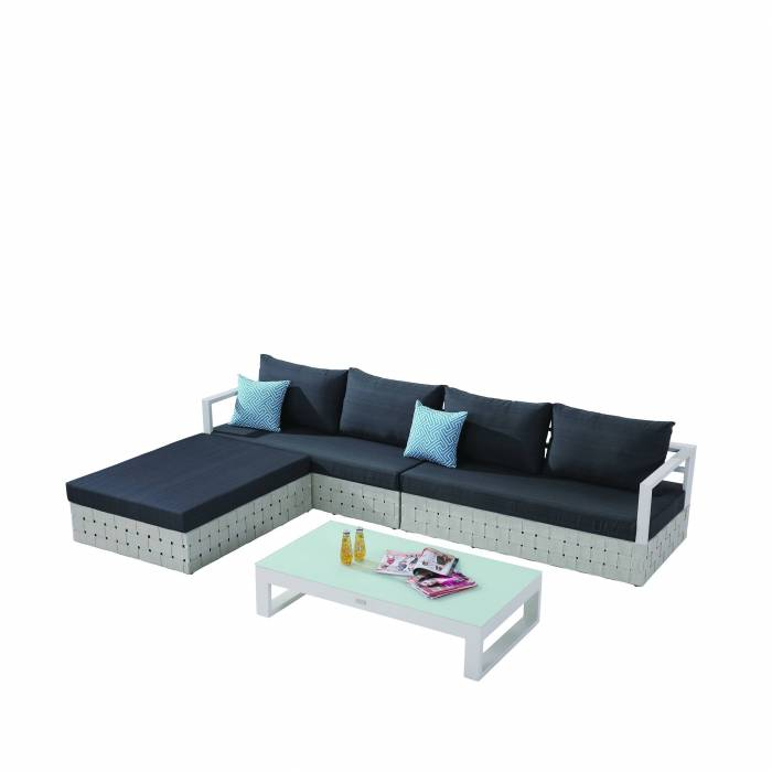 Edge Sectional Sofa Set for 4 with chaise ottoman and Coffee Table