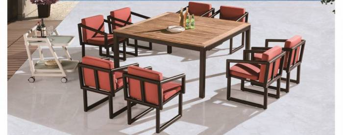 Amber Square Dining Set For 8 With Arms And Cushions