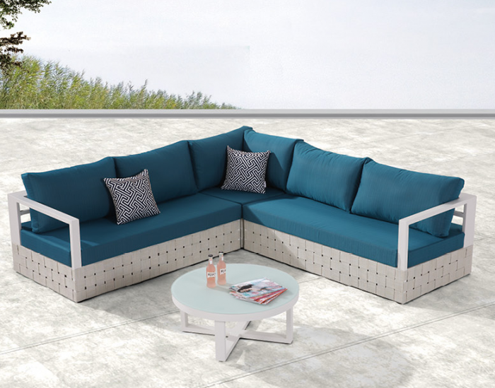 Edge Sectional Sofa Set for 5 with Round Coffee Table