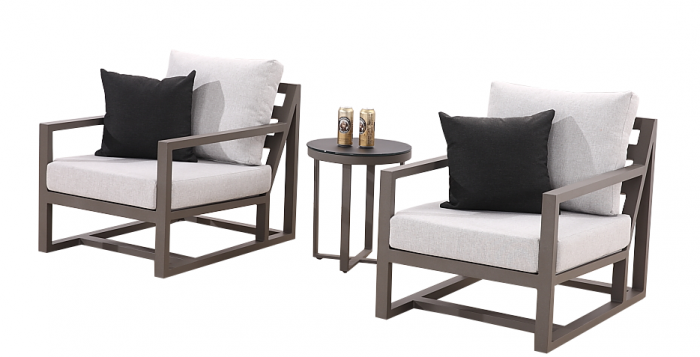 Tribeca Club Chair Set for 2 with Side Table