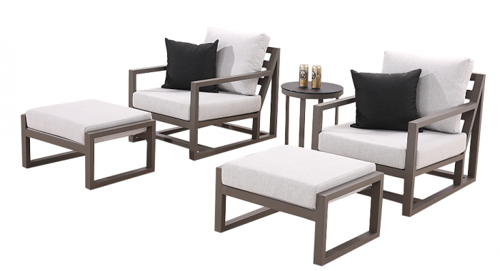 TribecaClub Chair Set for 2 with Ottomans and Side Table