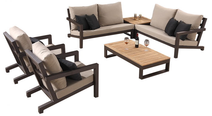 Soho Sectional Sofa Set for 6 with 2 Club Chairs - Image 1