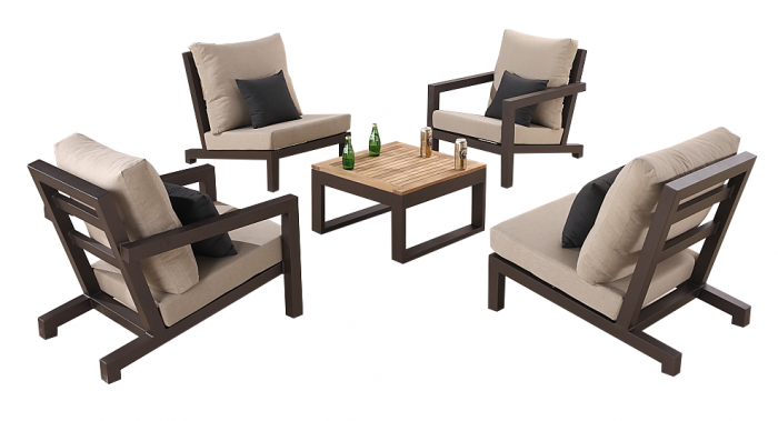 Soho Club Chair Set for 4 with Square Coffee Table - Image 1