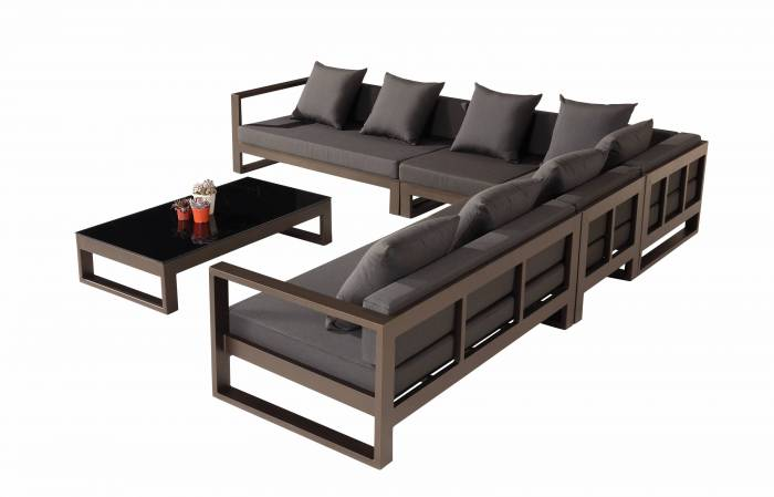 Amber Modern Outdoor Sectional Sofa Set For 6 With Chair