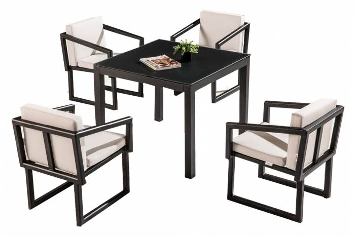 Amber Dining Set For 4 With Arms And Cushions