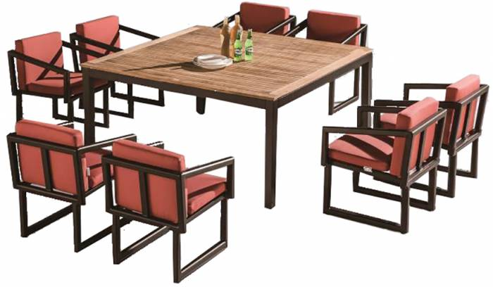 Amber Square Dining Set For 8 With Arms And Cushions - Image 1