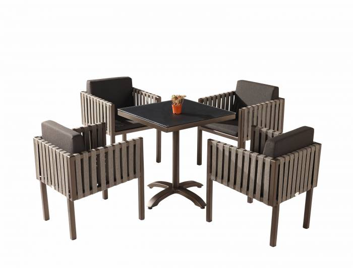 Amber Dining Set For 4 with Side Straps - Image 1