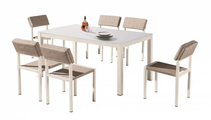 Barite Dining Set for 6 with Armless Chairs