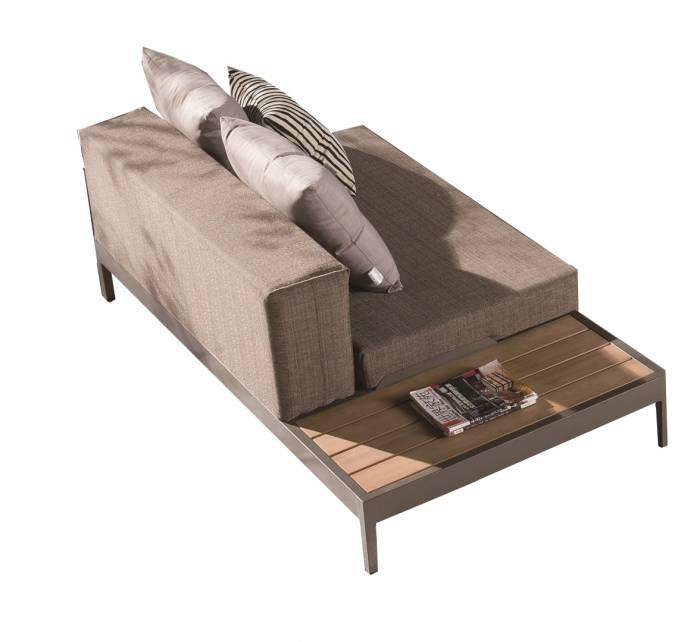 Barite Chaise With Built-in Side Table