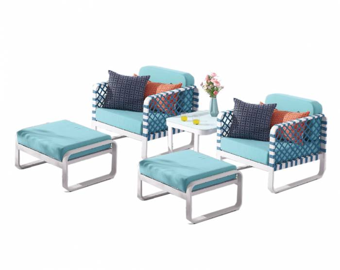 Dresdon Club Chair Set for 2 with Ottomans and Side Table